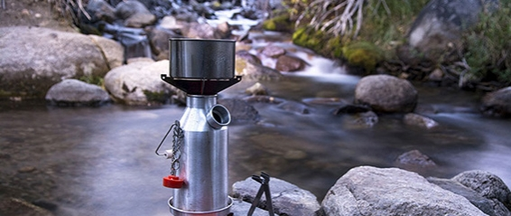 camping stove and camping gear for outdoor cooking